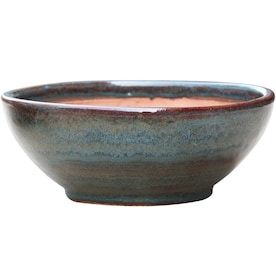 allen + roth 13-in W x 5.7-in H Blue/Gray Ceramic Low Bowl Planter