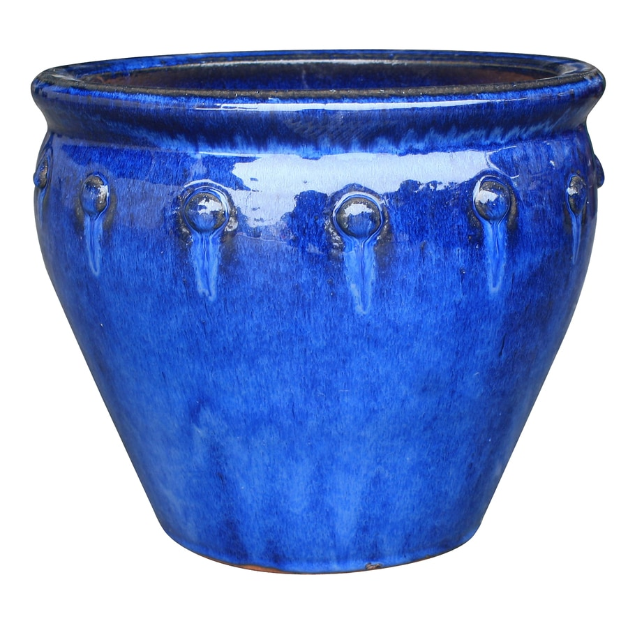 allen + roth 15.6-in x 14.4-in Blue Ceramic Planter