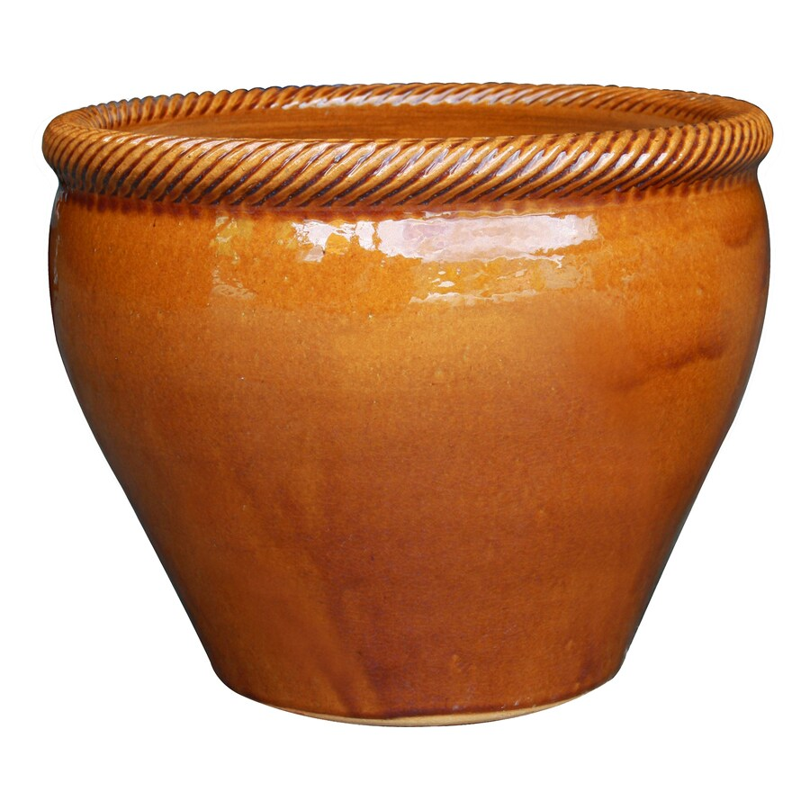 allen + roth 7.7-in x 8.1-in Honey Gold Ceramic Planter