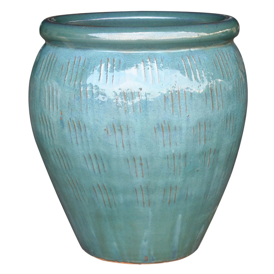 13.2-in x 18.9-in Teal Ceramic Planter