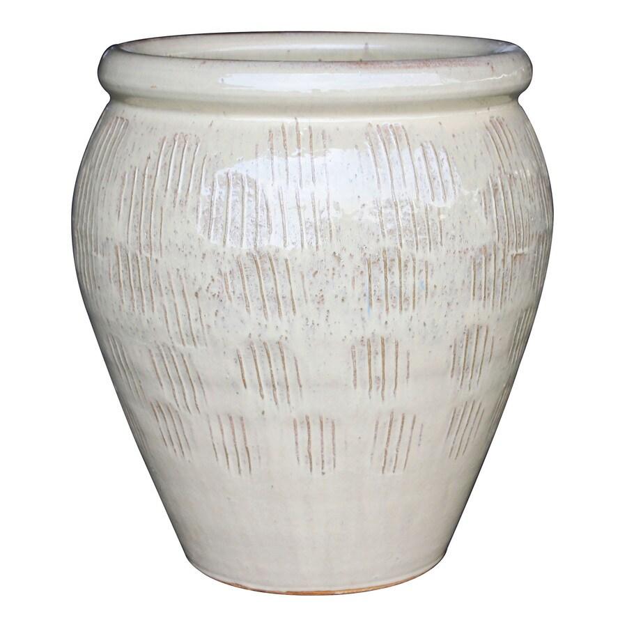 13.2-in x 18.9-in Cream Ceramic Planter