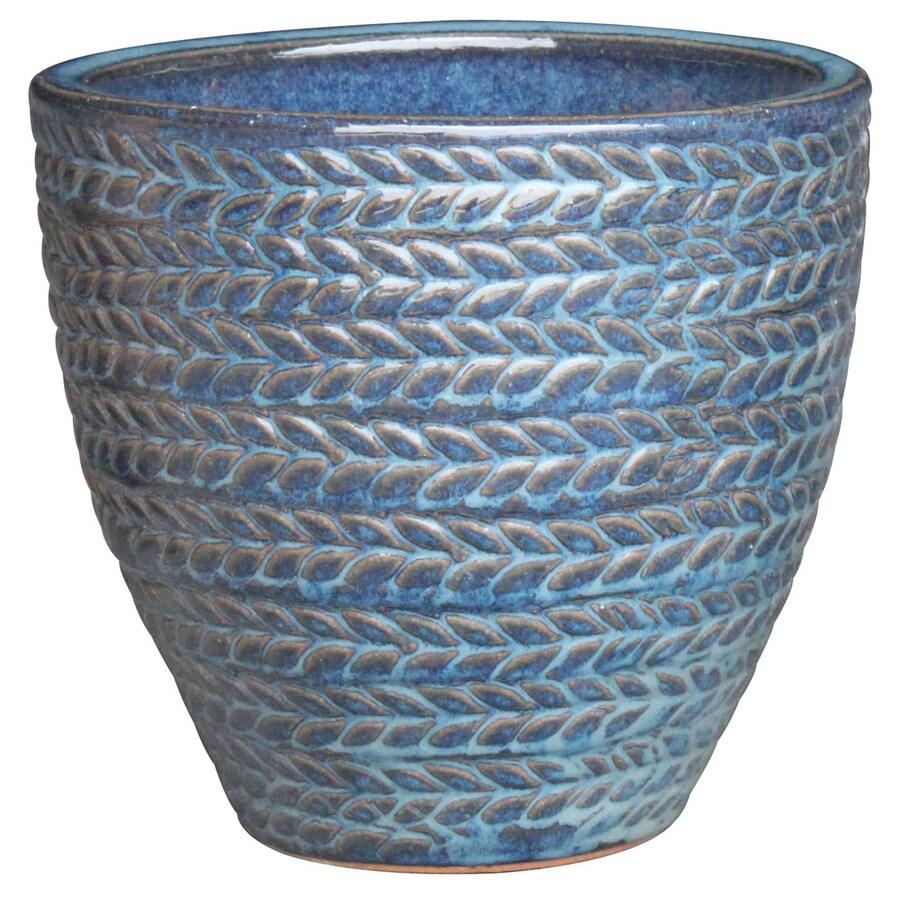 2-Pack 15.4-in x 15.2-in Blue Ceramic Planters