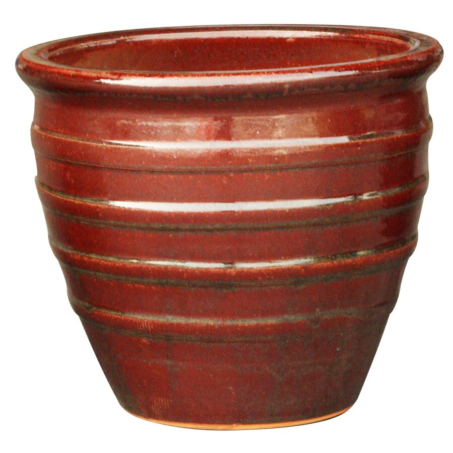 3-Pack 12.2-in x 12-in Red Ceramic Round Planters