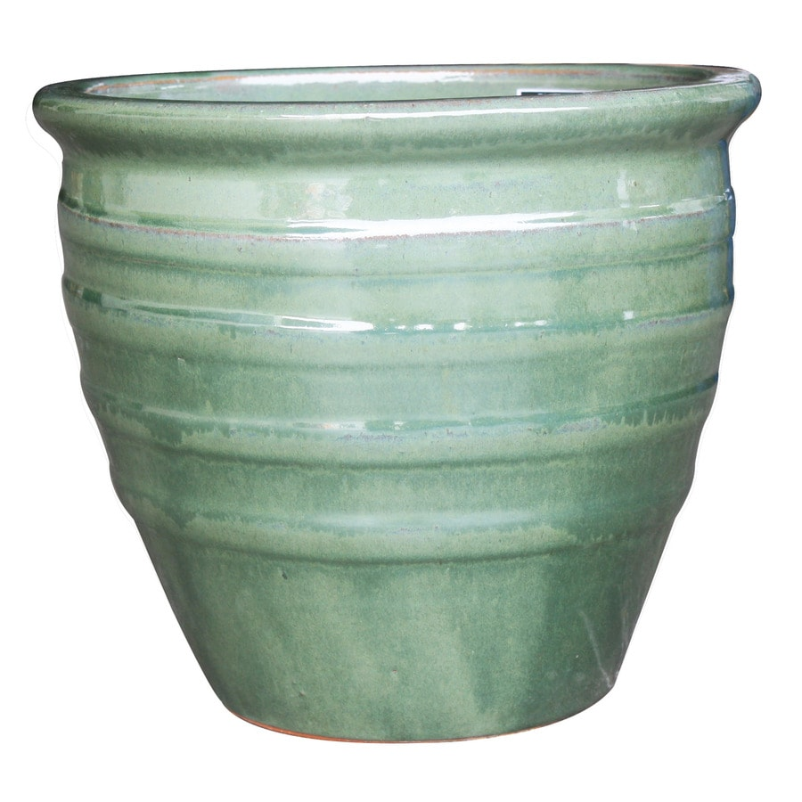3-Pack 12.2-in x 12-in Green Ceramic Round Planters