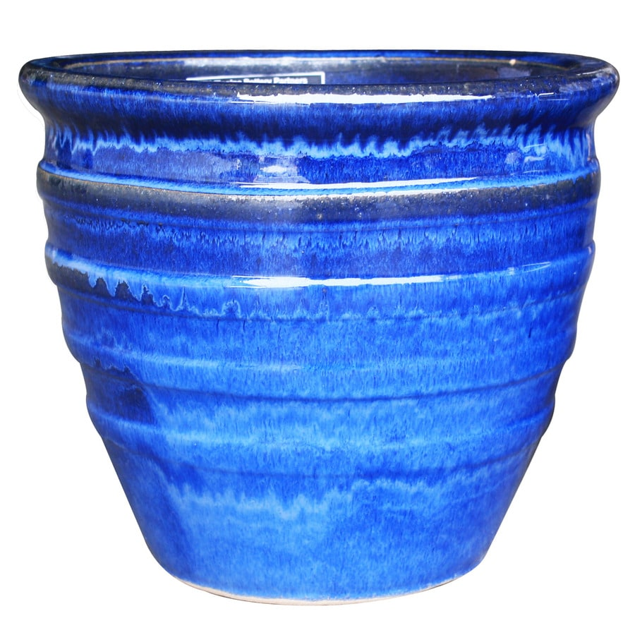 3-Pack 12.2-in x 12-in Blue Ceramic Round Planters