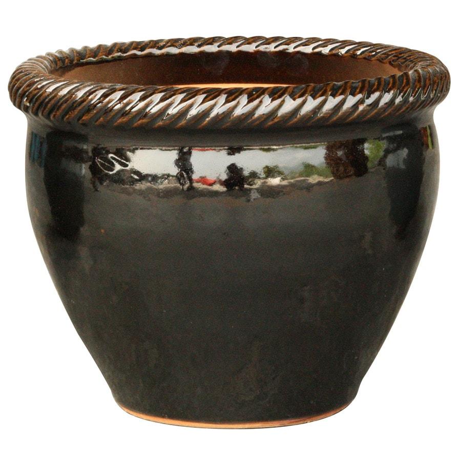12.2-in x 11.2-in Black Ceramic Round Planter