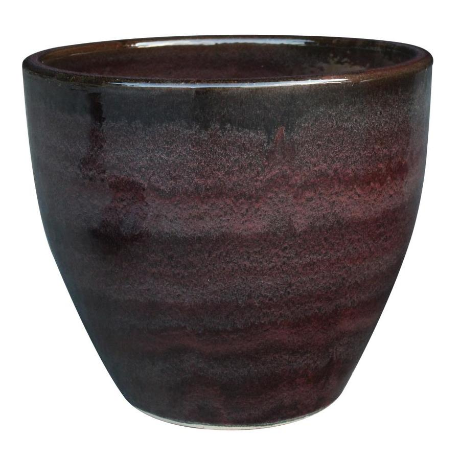 allen + roth 7.5-in x 8.5-in Aubergine Ceramic Planter