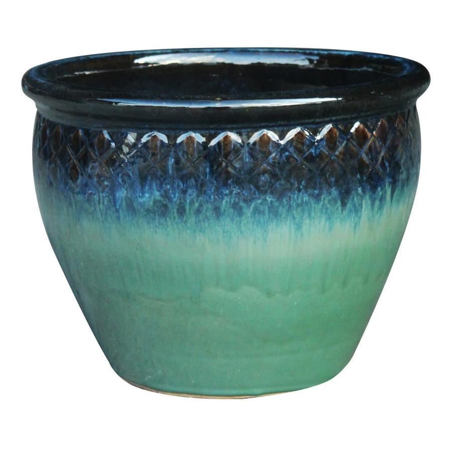 allen + roth 15.7-in x 14.8-in Haiku Mist Ceramic Planter
