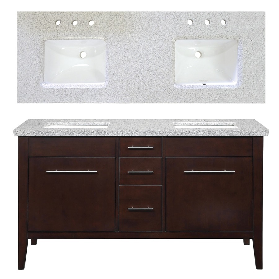 Charmant Allen + Roth Newfield 60 In X 22 In Espresso Undermount Double Sink Bathroom