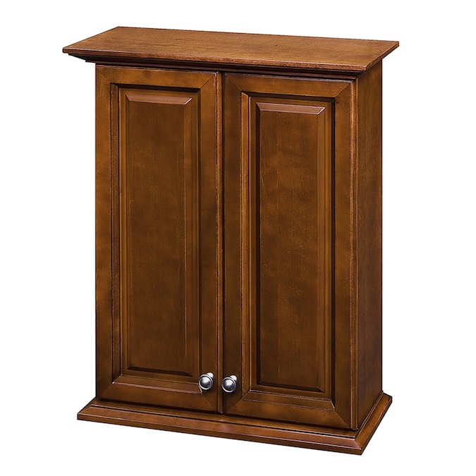Allen Roth Caladium 24 In W X 30 In H X 8 In D Cherry Bathroom Wall Cabinet In The Bathroom Wall Cabinets Department At Lowes Com