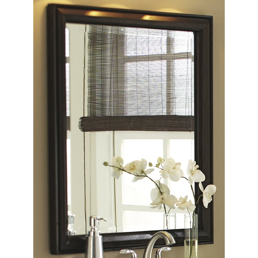 allen + roth Moxley 26-in W x 30-in H Cocoa Rectangular Bathroom Mirror