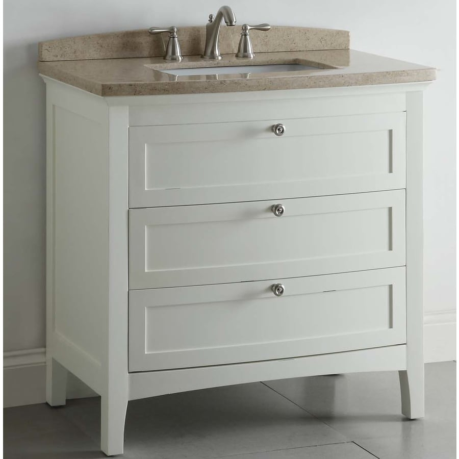allen + roth Windleton White with Weathered Edges 36-in Undermount Single Sink Asian Hardwood Bathroom Vanity with Natural Marble Top