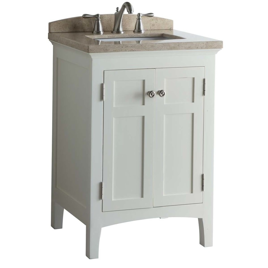 allen + roth Norbury White (Common: 24-in x 22-in) Undermount Single Sink Poplar Bathroom Vanity with Engineered Stone Top (Actual: 24-in x 20.63-in)