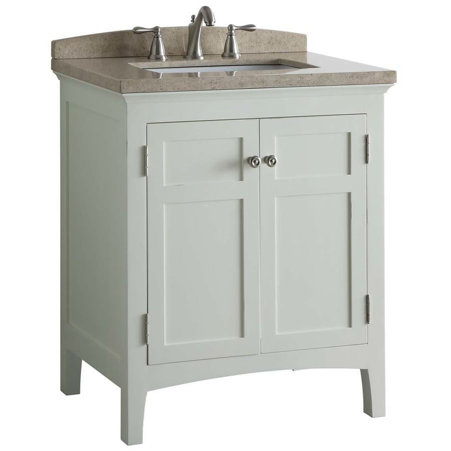 allen + roth Norbury White (Common: 30-in x 22-in) Undermount Single Sink Poplar Bathroom Vanity with Engineered Stone Top (Actual: 30-in x 20.63-in)