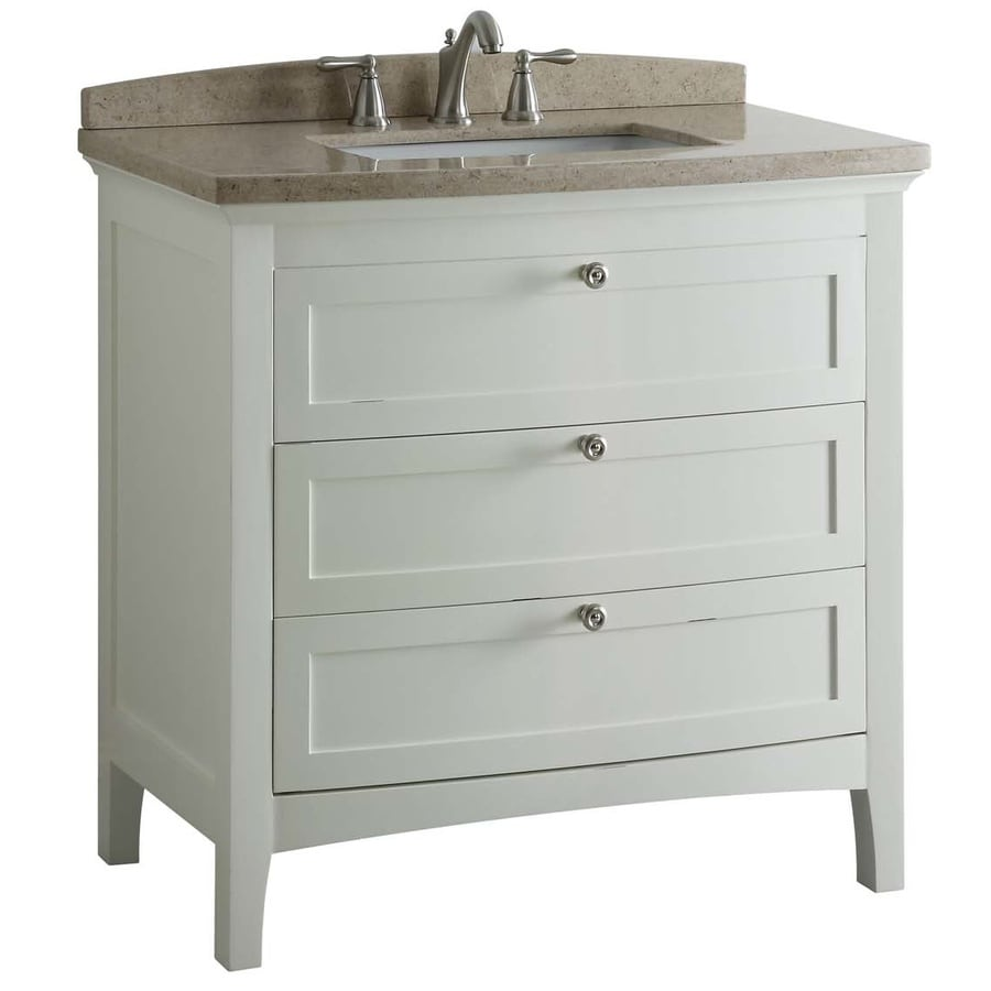 allen + roth Norbury White 36-in Undermount Single Sink Poplar Bathroom Vanity with Engineered Stone Top