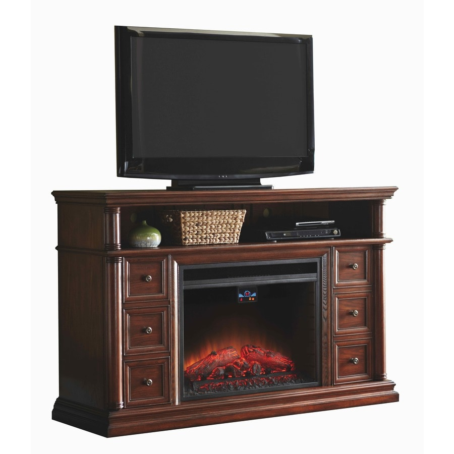 allen + roth 62-in W 5,120-BTU Warm Cherry Wood Infrared Quartz Electric Fireplace with Thermostat and Remote Control