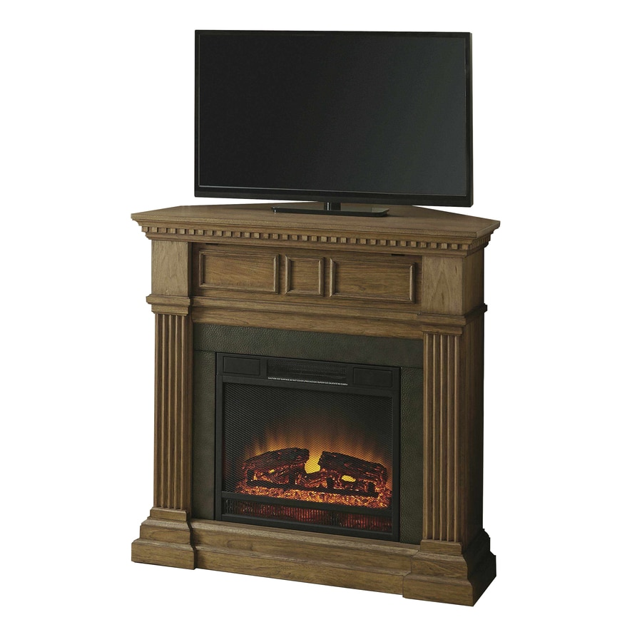 Style Selections 42-in W 5,120-BTU Light Driftwood Wood and Metal Corner or Flat Wall Fan-Forced Electric Fireplace with Thermostat and Remote Control