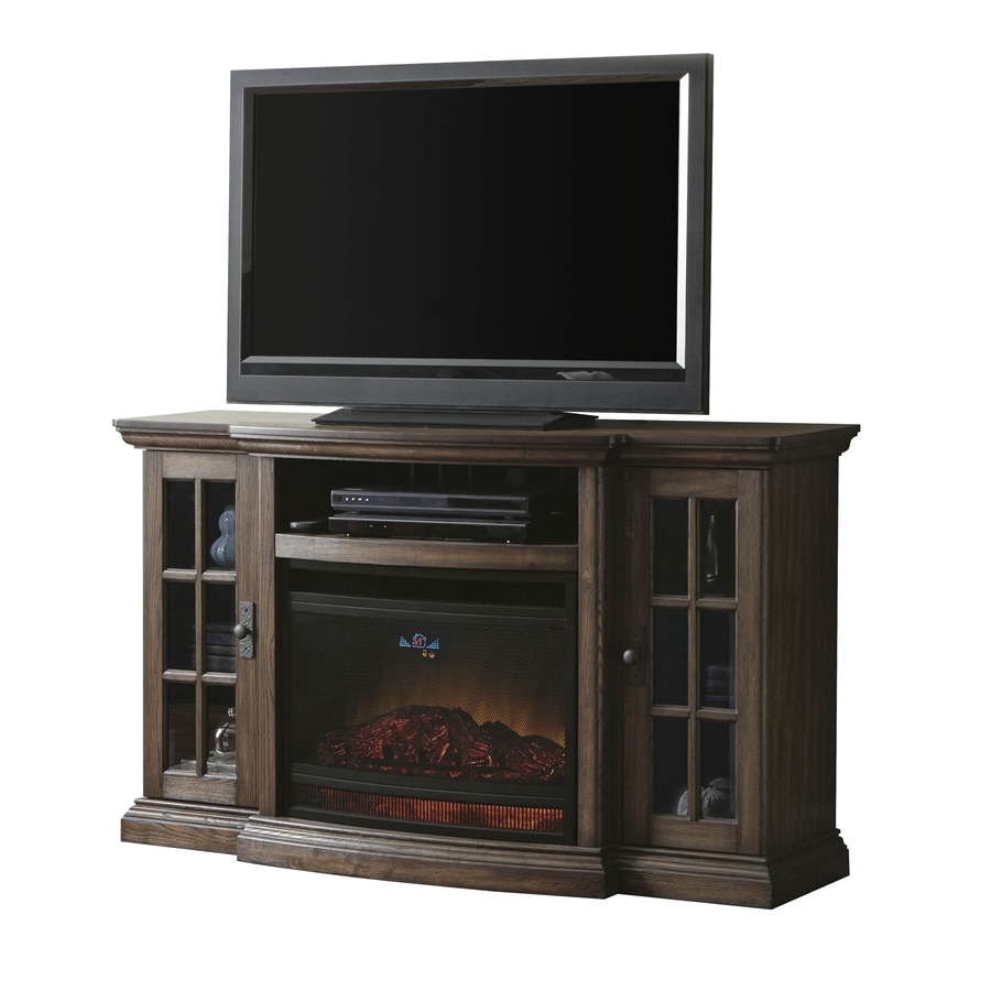 Style Selections 58-in W 5,120-BTU Dark Driftwood Wood Infrared Quartz Electric Fireplace with Thermostat and Remote Control