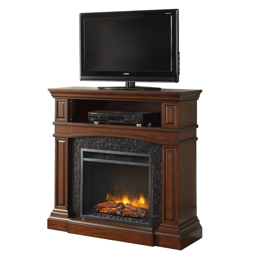 Shop Febo Flame 42 In W 5 120 Btu Cherry Wood And Metal Infrared Quartz Electric Fireplace With