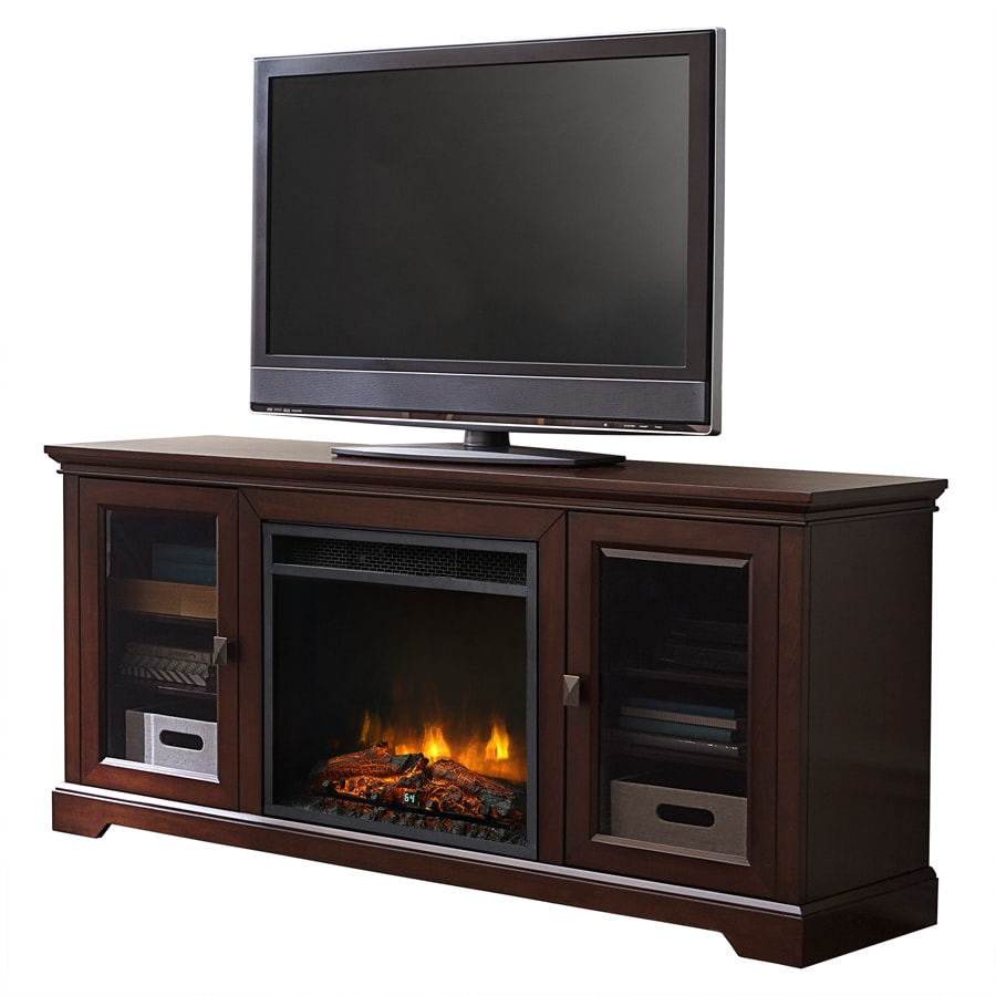 Style Selections 62-in W 5,120-BTU Dark Brown Wood and Metal Infrared Quartz Electric Fireplace with Thermostat and Remote