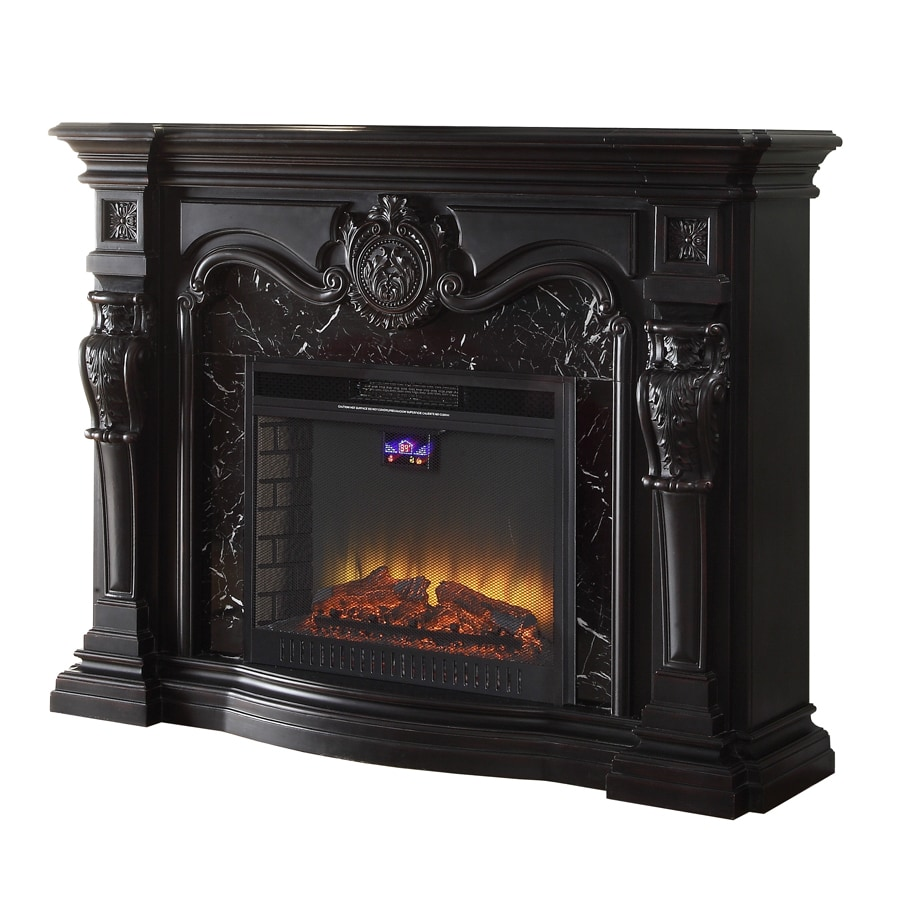 FEBO FLAME 62-in W 5,120-BTU Black Wood and Metal Fan-Forced Electric Fireplace with Thermostat with Remote Control