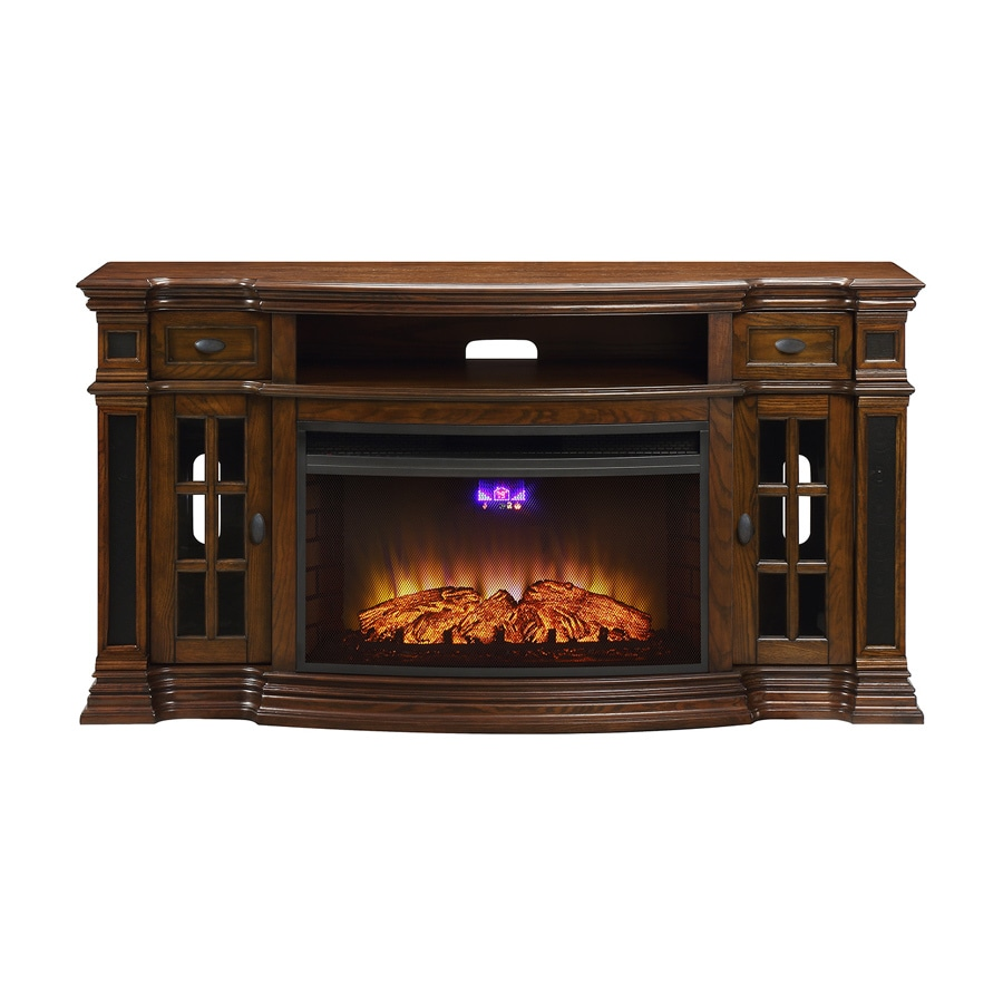 Shop febo flame 66-in w 5120-btu warm oak wood veneer infrared quartz electric fireplace media mantel with thermostat and remote control in the electric fireplaces section of Lowes.com