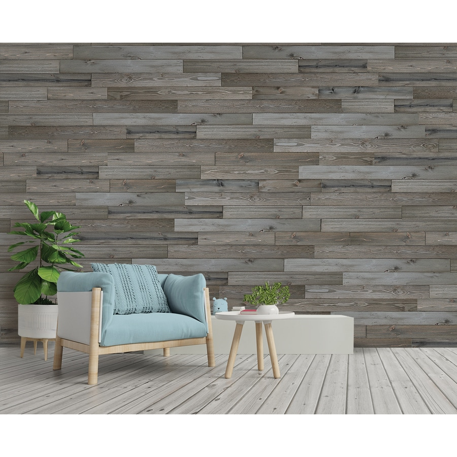 Shop Design Innovations Reclaimed Shiplap 10 5 Sq Ft Weathered Grey Wood Wall Plank Kit At