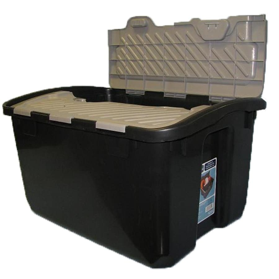 Real Organized 12-Gallon Black Tote with Hinged Lid