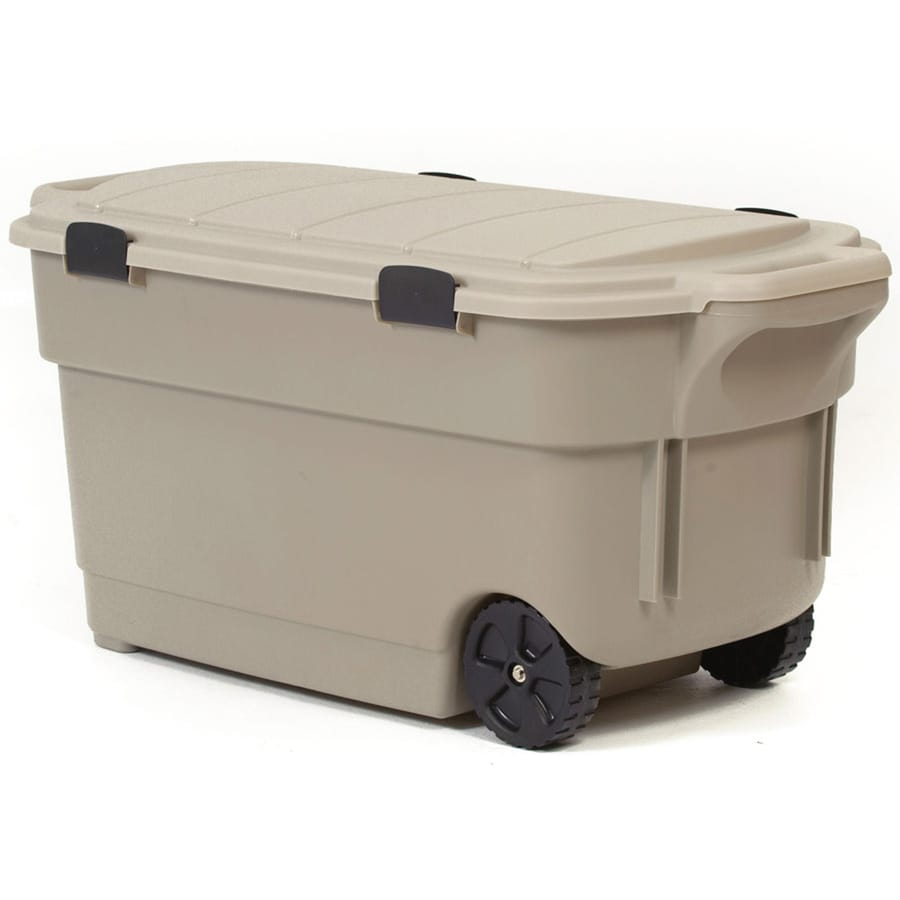 Exceptional Centrex Plastics, LLC Rugged Tote 45 Gallon Brown Tote With Latching Lid