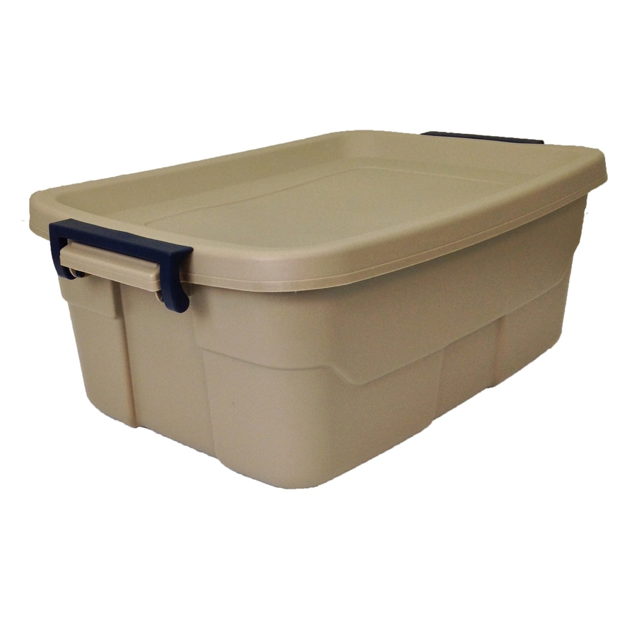 Centrex Plastics, LLC Rugged Tote 10-Gallon Brown Tote with Latching Lid