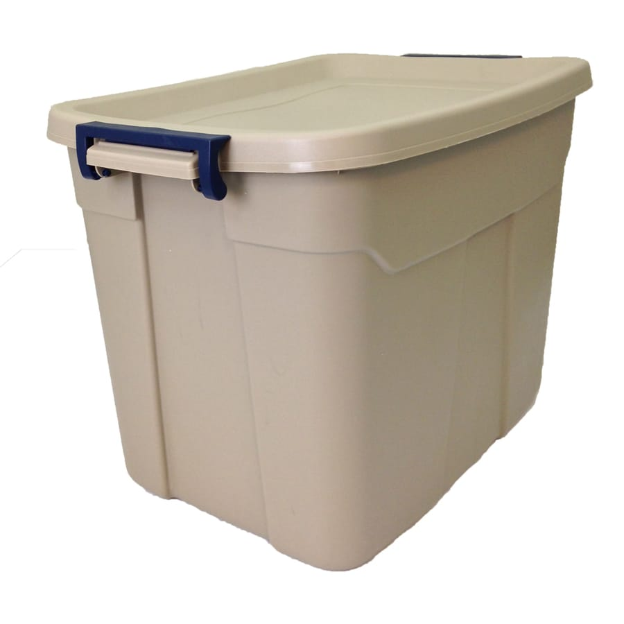 Centrex Plastics, LLC Rugged Tote 18-Gallon Brown Tote with Latching Lid