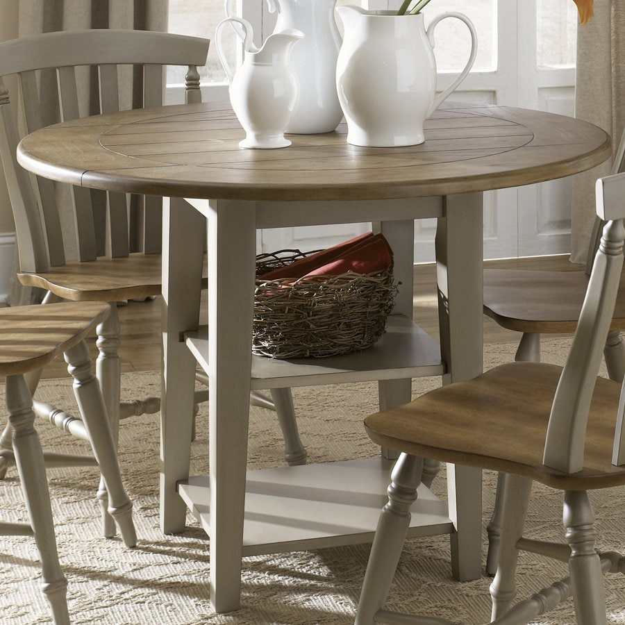 Shop Liberty Furniture Al Fresco Driftwood Wood Round Extending ... for Driftwood Outdoor Furniture  66plt