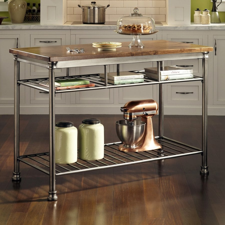 metal kitchen islands shop home styles gray industrial prep tables at lowes 4092