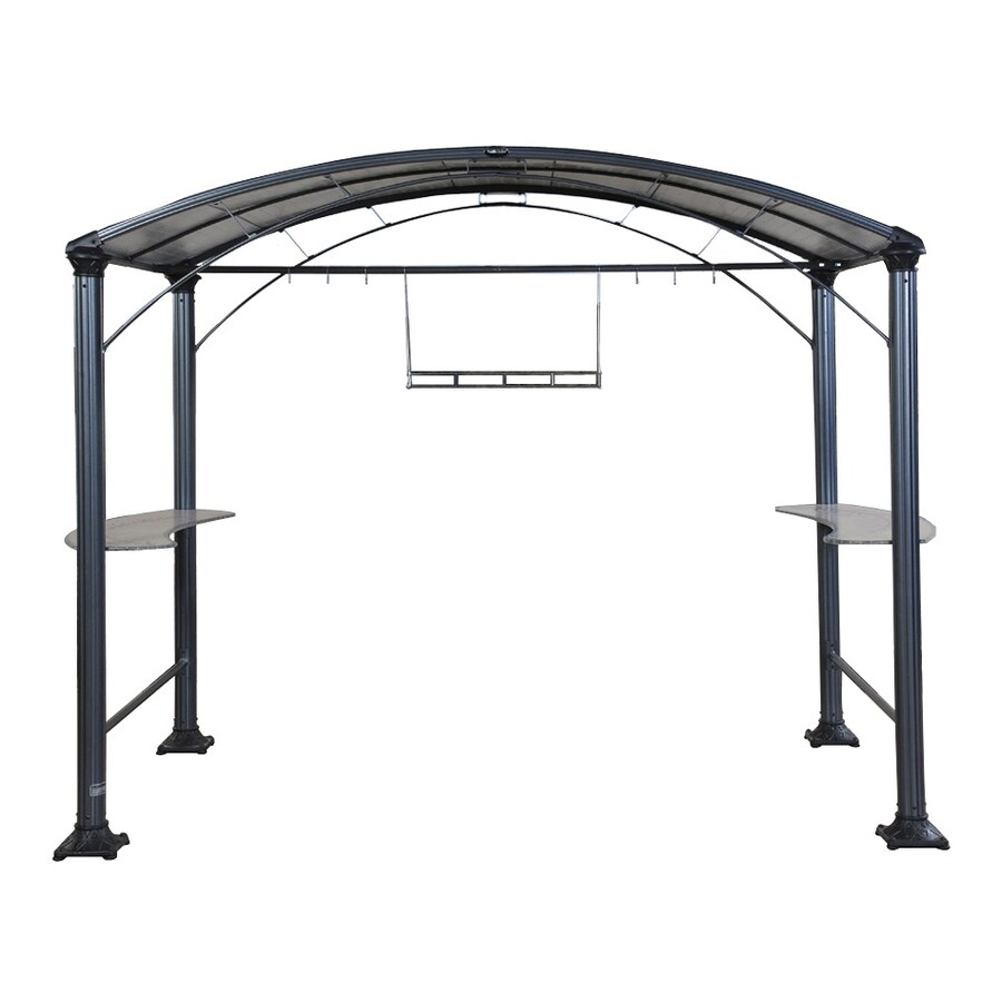 Shade Trends Grill Zebo Hammered Pewter Aluminum Rectangle Grill Gazebo  (Exterior: 8.5