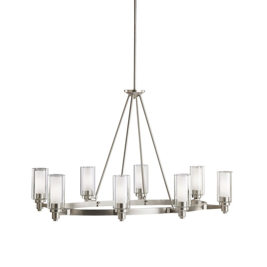 Kichler Circolo 25-in 8-Light Brushed Nickel Clear Glass Shaded Chandelier