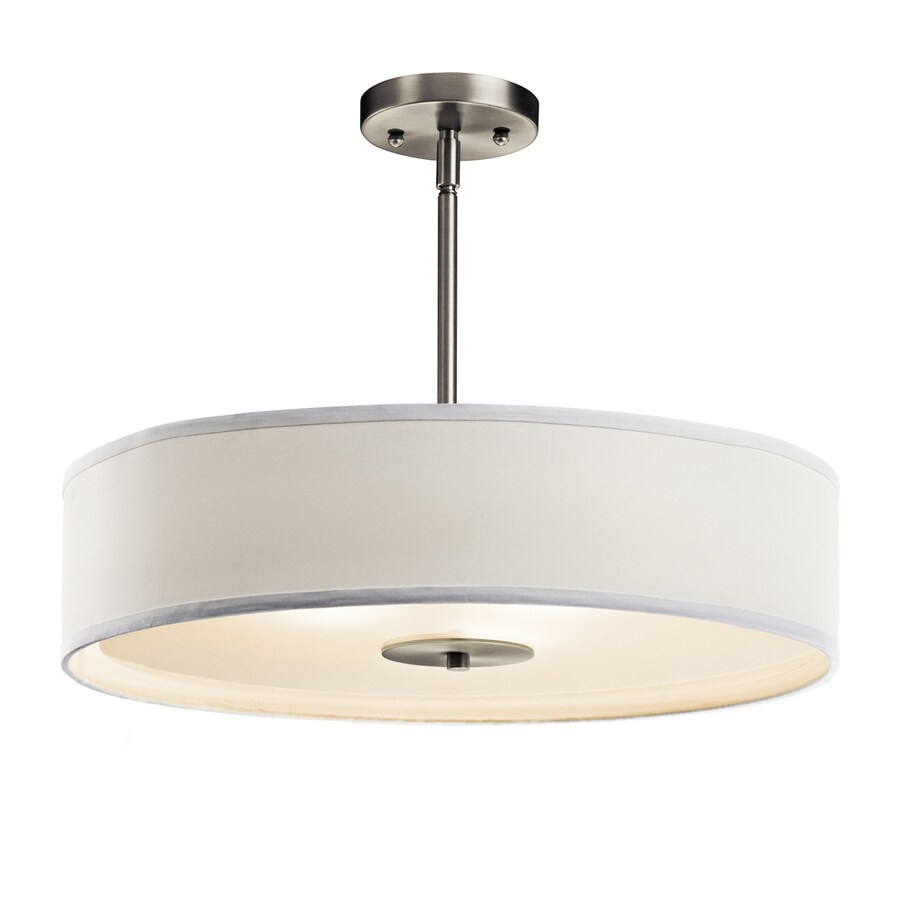 Kichler 20-in W Brushed nickel Etched Glass Semi-Flush Mount Light