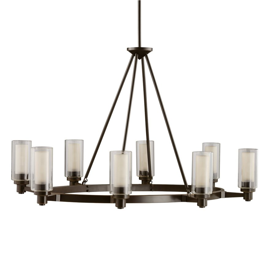 Kichler Lighting Circolo 25-in 8-Light Olde Bronze Clear Glass Shaded Chandelier