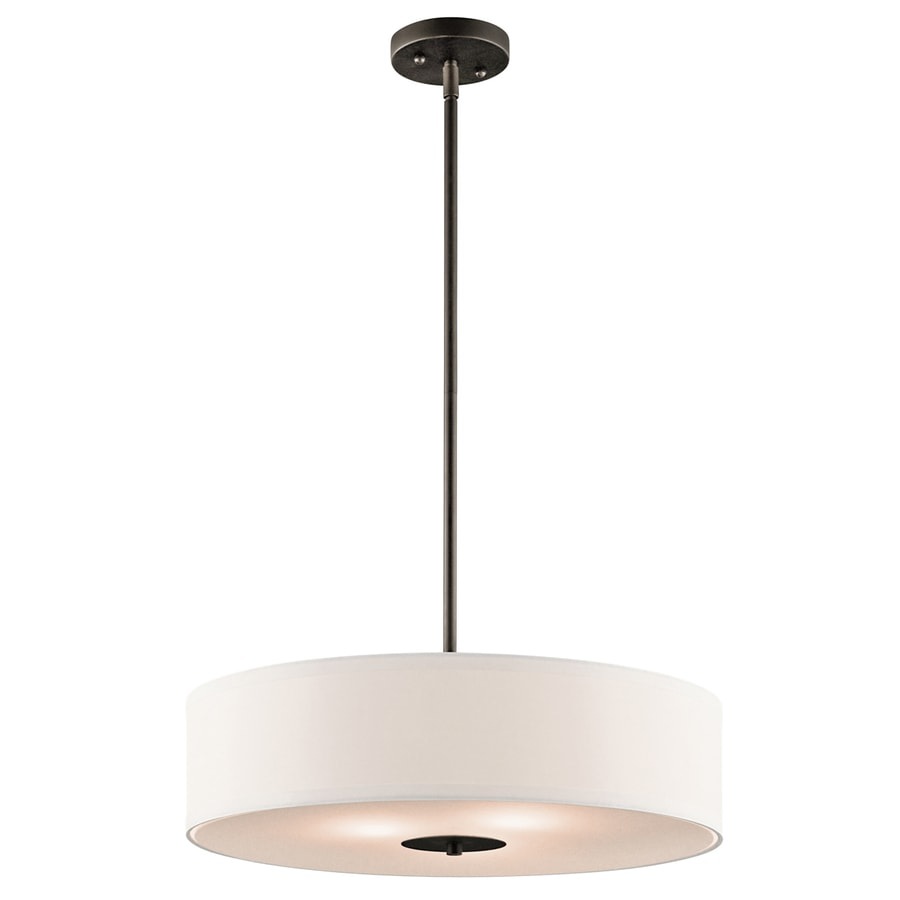 Kichler 20-in Olde Bronze Hardwired Single Etched Glass Drum Standard Pendant