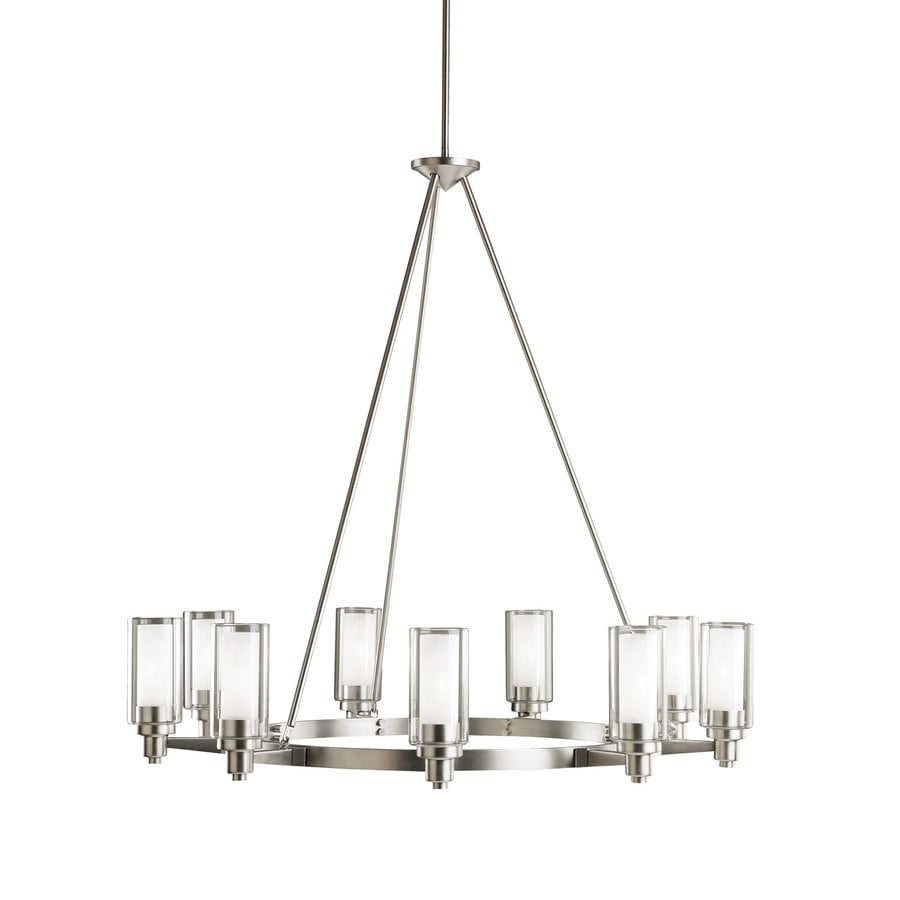 Kichler Circolo 36-in 9-Light Brushed Nickel Hardwired Clear Glass Shaded Chandelier