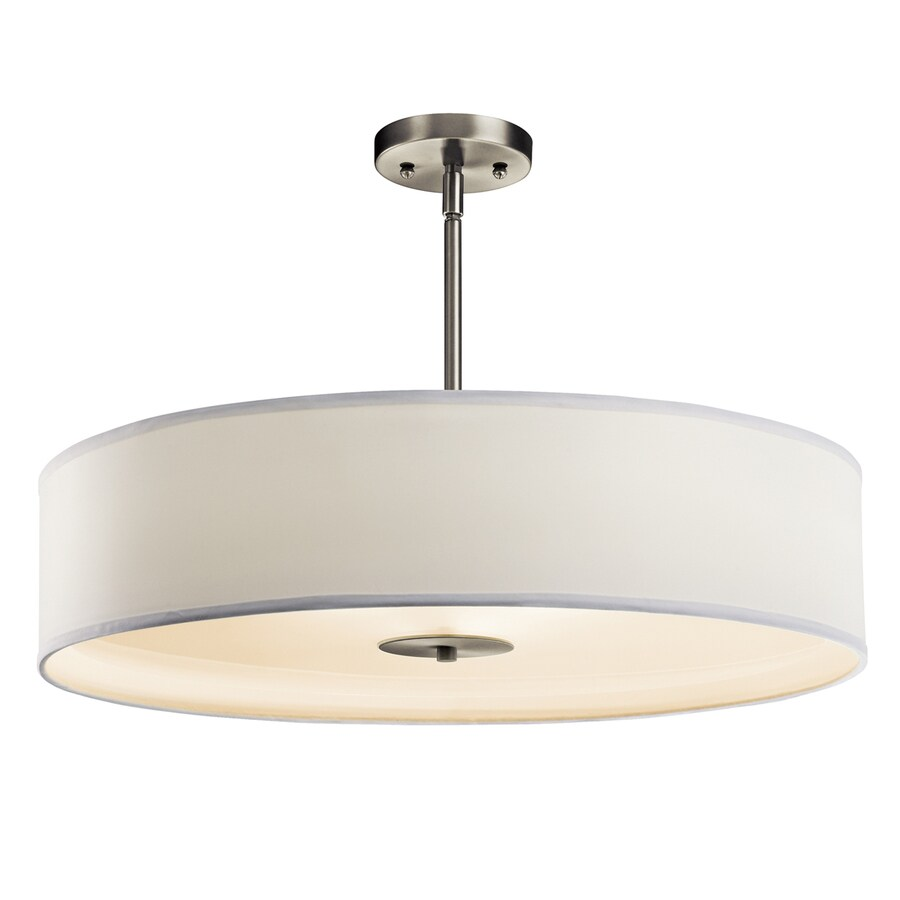Kichler 24-in W Brushed Nickel Etched Glass Semi-Flush Mount Light