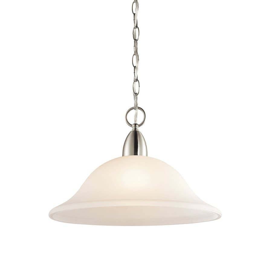 Kichler Nicholson 16-in Brushed Nickel Country Cottage Hardwired Single Etched Glass Bell Pendant