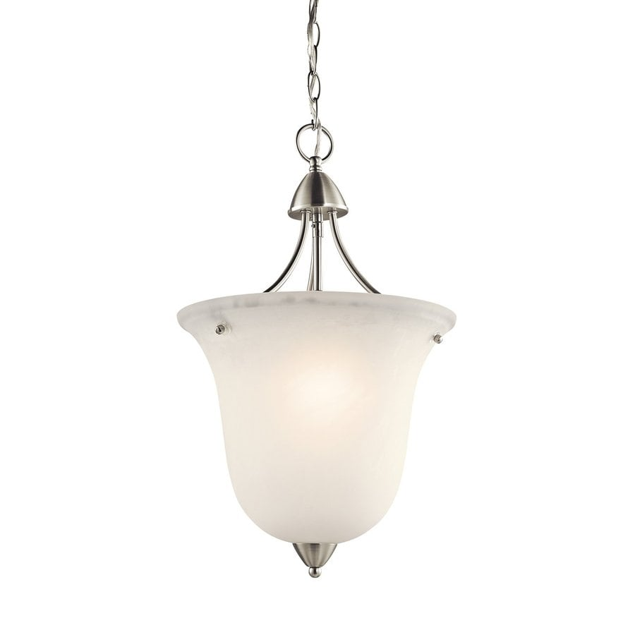 Kichler Lighting Nicholson 13-in Brushed Nickel Country Cottage Hardwired Single Etched Glass Urn Pendant