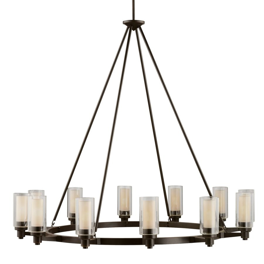 Kichler Circolo 44.5-in 12-Light Olde Bronze Clear Glass Shaded Chandelier