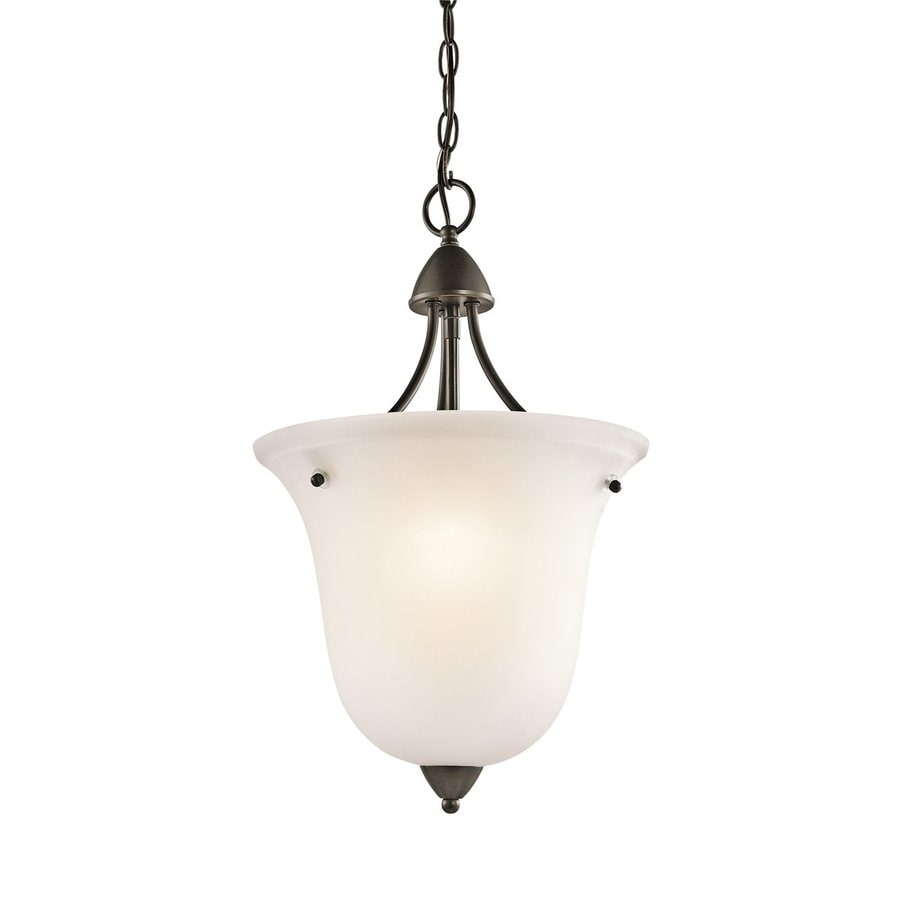 Kichler Nicholson 13-in Olde Bronze Country Cottage Hardwired Single Etched Glass Urn Pendant