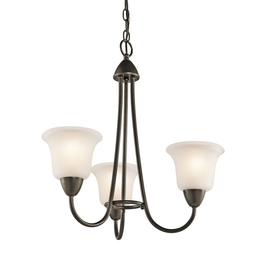 Kichler Nicholson 21-in 3-Light Olde Bronze Etched Glass Shaded Chandelier