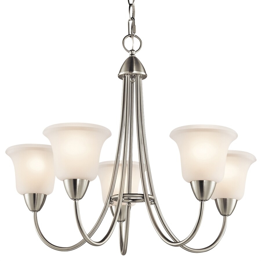 Kichler Nicholson 25-in 5-Light Brushed Nickel Etched Glass Shaded Chandelier