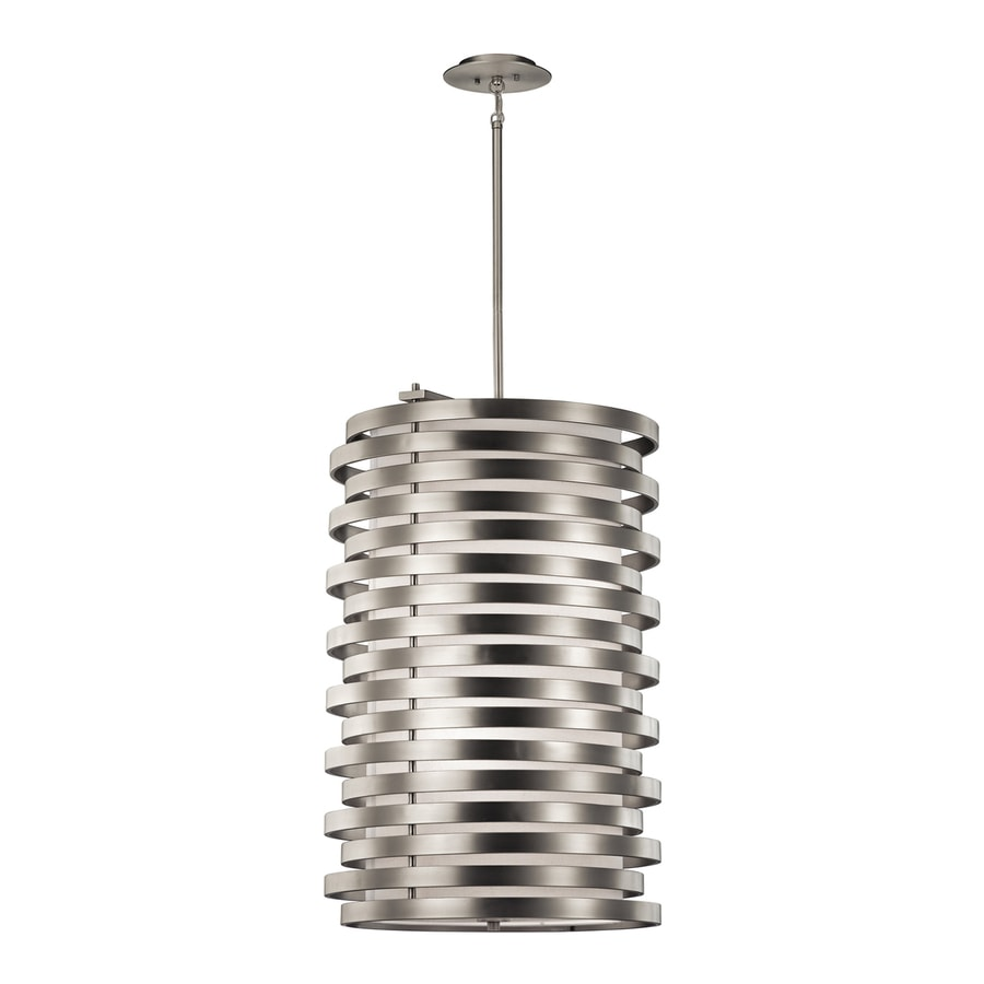 Kichler Lighting Roswell 21.25-in Brushed Nickel Hardwired Single Etched Glass Geometric Pendant