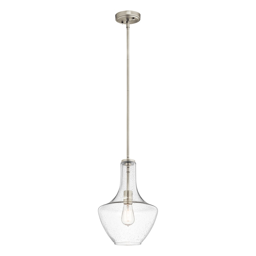 Kichler Everly 10.5-in Brushed Nickel Industrial Single Seeded Glass Teardrop Pendant