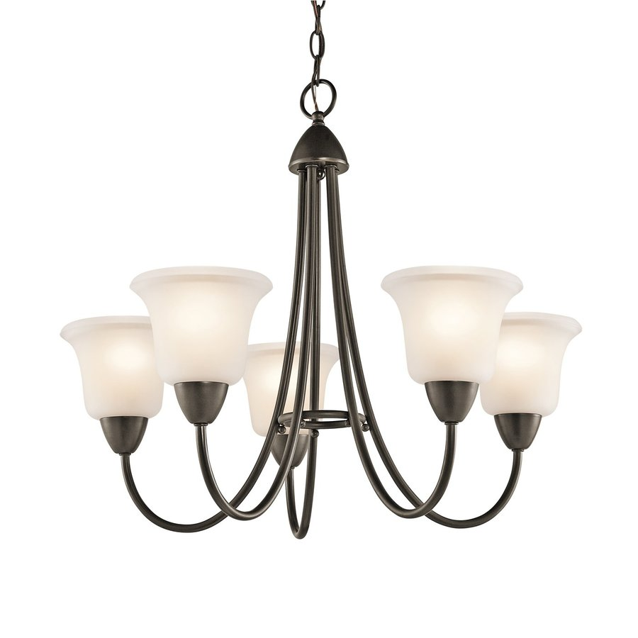 Kichler Nicholson 25-in 5-Light Olde Bronze Etched Glass Shaded Chandelier