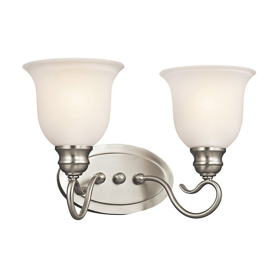 Kichler Tanglewood 2-Light 9.25-in Brushed Nickel Bell Vanity Light